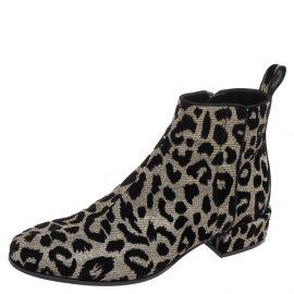 Dolce & Gabbana Metallic Gold/Silver Animal Print Lurex Fabric Ankle Boots Size 36