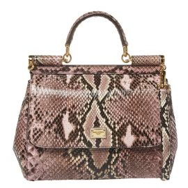 Dolce & Gabbana Multicolor Python Medium Miss Sicily Top Handle Bag
