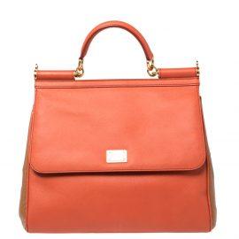 Dolce & Gabbana Orange/Brown Leather Large Miss Sicily Top Handle Bag