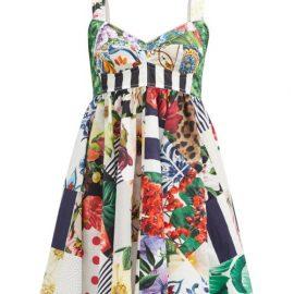 Dolce & Gabbana - Patchwork-print Cotton-blend Mini Dress - Womens - White Multi