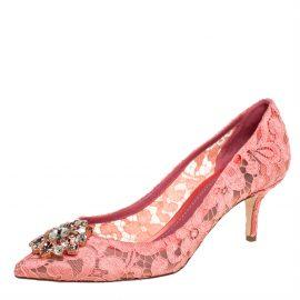 Dolce & Gabbana Pink Lace Bellucci Pumps Size 40