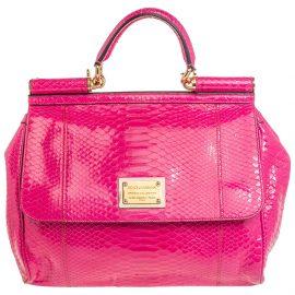Dolce & Gabbana Pink Python Large Miss Sicily Top Handle Bag