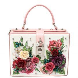 Dolce & Gabbana Pink/White Leather Floral Embellished Dolce Box Bag