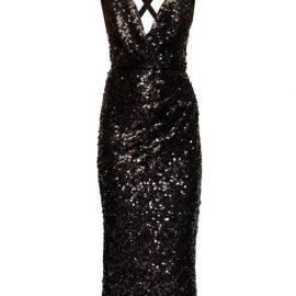 Dolce & Gabbana - Plunge-neck Sequinned Midi Dress - Womens - Black