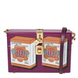 Dolce & Gabbana Purple Wood Bellezza Box Clutch Bag