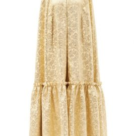 Dolce & Gabbana - Ruffled Floral-brocade Cape - Womens - Yellow Gold