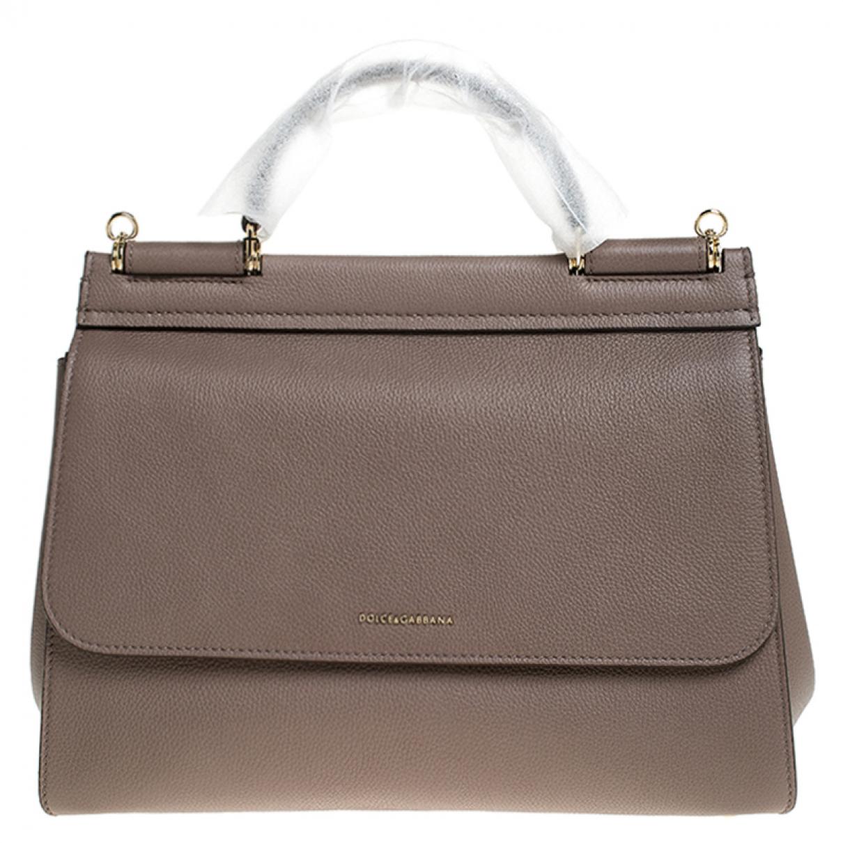 Dolce & Gabbana Sicily Beige Leather Handbag for Women