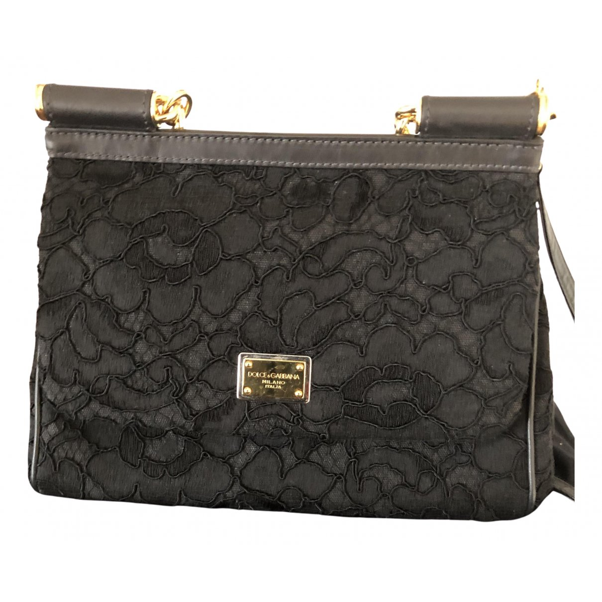 Dolce & Gabbana Sicily Black Cloth Handbag for Women