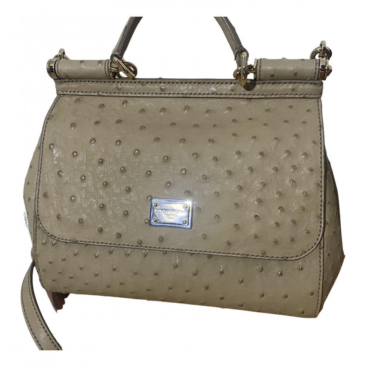 Dolce & Gabbana Sicily Camel Ostrich Handbag for Women