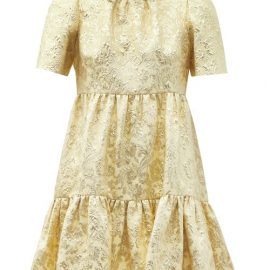 Dolce & Gabbana - Tiered Brocade Mini Dress - Womens - Yellow Gold