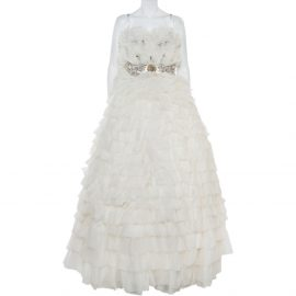 Dolce & Gabbana White Ruffled Silk Embellished Belt Detail Wedding Gown S