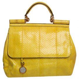 Dolce & Gabbana Yellow Python Medium Heritage Miss Sicily Top Handle Bag