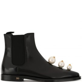 Dolce & Gabbana faux pearl-embellished Chelsea boots - Black