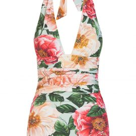Dolce & Gabbana floral print halterneck swimsuit - Pink