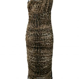 Dolce & Gabbana leopard print ruched dress - Neutrals