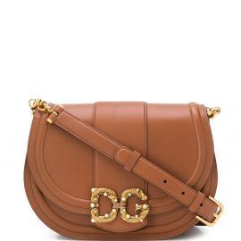 Dolce & Gabbana logo plaque shoulder bag - Brown