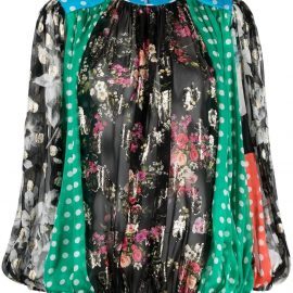 Dolce & Gabbana patchwork ruched blouse - Black