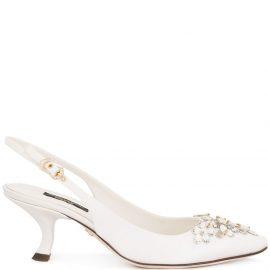 Dolce & Gabbana rhinestone-embellished slingback pumps - White