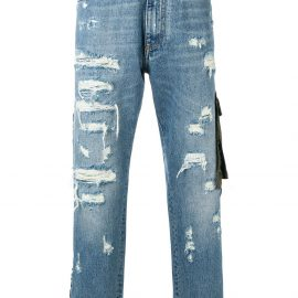 Dolce & Gabbana ripped detail piped jeans - Blue