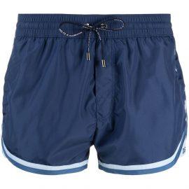 Dolce & Gabbana stripe trim logo embroidered swim shorts - Blue