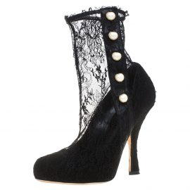 Dolce and Gabbana Black Lace Pearl Embellished Socks Boots Size 38