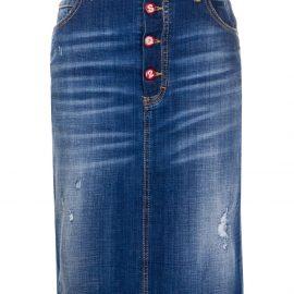 Dsquared2 distressed denim pencil skirt - Blue