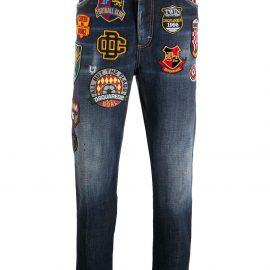 Dsquared2 slogan-patch straight leg jeans - Blue