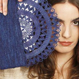 ELISE raffia evening Clutch bag - handmade lace- Blue or Brown