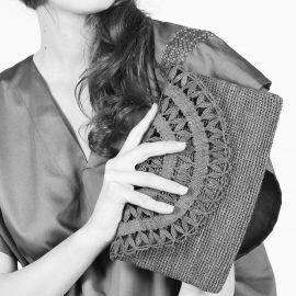 ELISE raffia evening Clutch bag - handmade lace- Natural or Purple