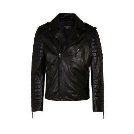 ELLESD - Mens Black Leather Biker Jacket