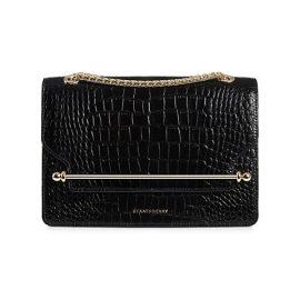 East/West Croc-Embossed Leather Shoulder Bag