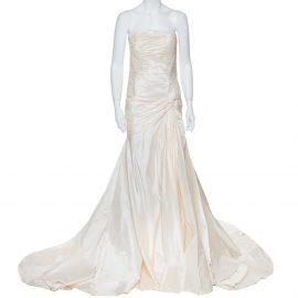 Elie Saab Cream Silk Strapless Wedding Gown M