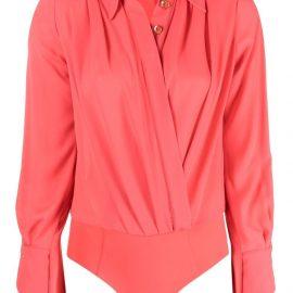 Elisabetta Franchi long-sleeve wrap bodysuit - Red