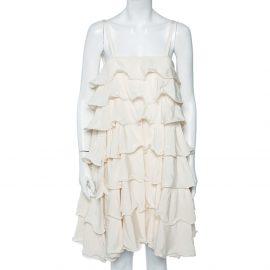 Emporio Armani Cream Silk Ruffled Tiered Sleeveless Mini Dress M
