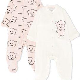Emporio Armani Kids bear-print two-set pyjamas - PINK