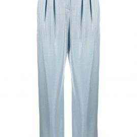 Emporio Armani velvet-effect tapered trousers - Blue