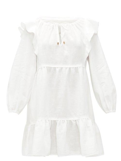 Ephemera - Ruffled Linen Mini Dress - Womens - Ivory