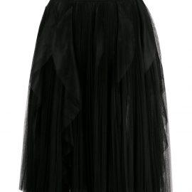 Ermanno Scervino pleated ruffle tulle midi skirt - Black