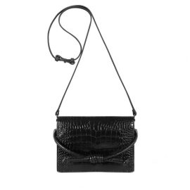 Esin Akan Midi Chelsea Clutch Bag Black Croc