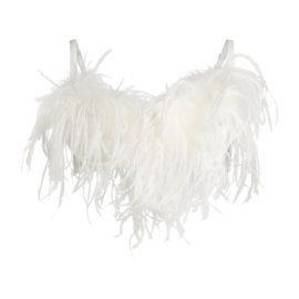 Esme Silk Bra With Ostrich Trim