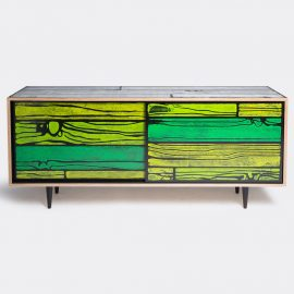 Established & Sons Room Organising - 'Wrongwoods' low cabinet, green in Green Plywood, timer, paint, clear l