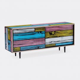 Established & Sons Room Organising - 'Wrongwoods' low cabinet, pink and blue in Pink, blue Plywood, timber, paint, clear