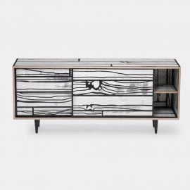Established & Sons Room Organising - 'Wrongwoods' low cabinet, white and black in White, black Plywood, timber, paint, clear