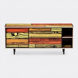 Established & Sons Room Organising - 'Wrongwoods' low cabinet, yellow and red in Yellow, red Plywood, timber, paint, clear