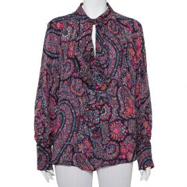 Etro Multicolor Floral Paisley Printed Ruffled Collared Top XL