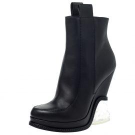 Fendi Black Leather Wedge Lucite Heel Platform Boots Size 40