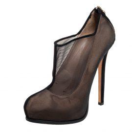 Fendi Black Mesh Platform Booties Size 40