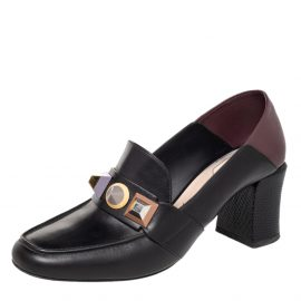 Fendi Black/Brown Leather Rainbow Studded Loafer Pumps Size 39