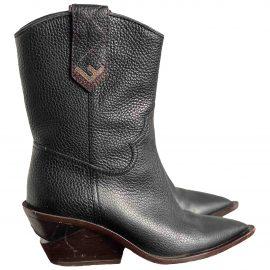 Fendi Cowboy Black Leather Ankle boots for Women