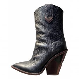Fendi Cowboy Black Leather Boots for Women